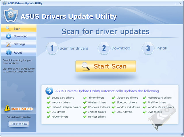 Click to view ASUS Drivers Update Utility For Windows 7 10.4 screenshot