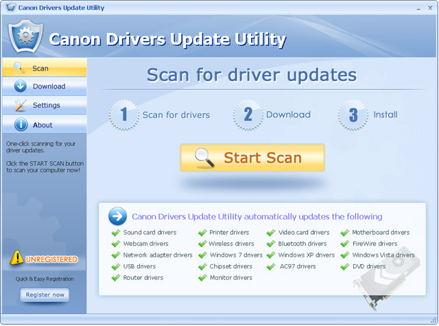 Click to view Canon Drivers Update Utility For Windows 7 11.9 screenshot