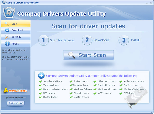 Click to view Compaq Drivers Update Utility For Windows 7 11.7 screenshot