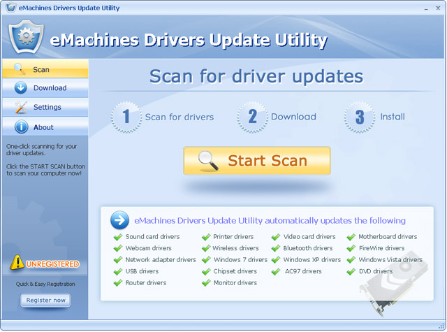 Click to view eMachines Drivers Update Utility For Windows 7 11.7 screenshot