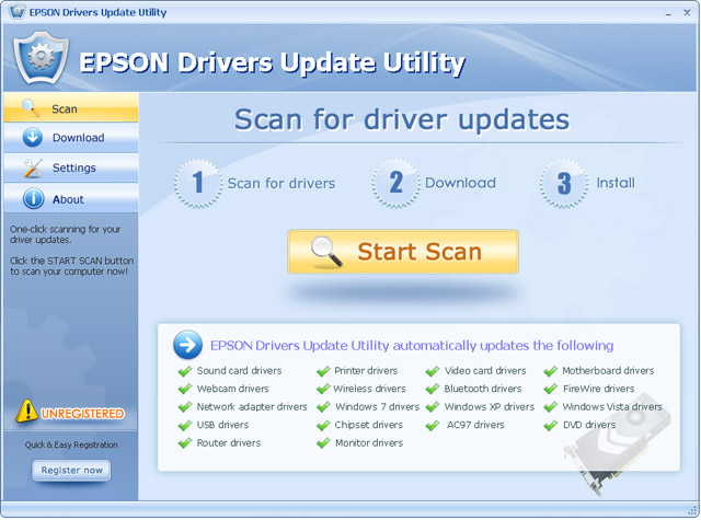 Click to view EPSON Drivers Update Utility For Windows 7 12.3 screenshot