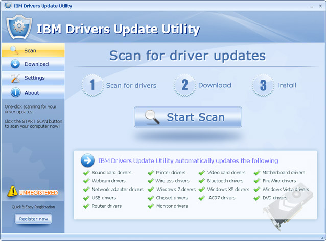 Click to view IBM Drivers Update Utility For Windows 7 12.2 screenshot