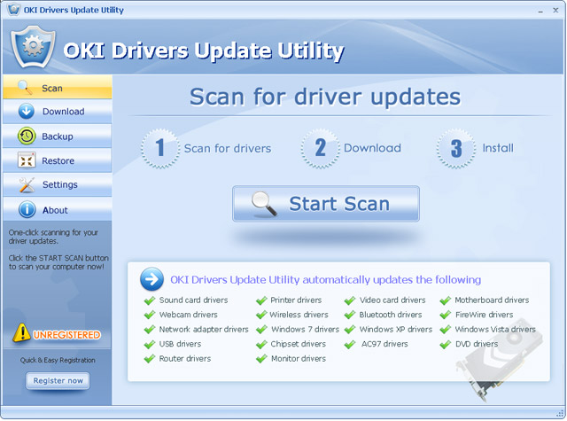 Click to view OKI Drivers Update Utility 10.8 screenshot