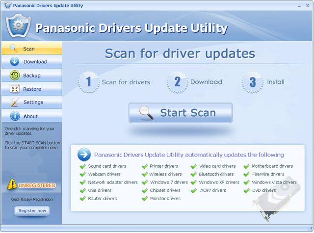 Click to view Panasonic Drivers Update Utility 11.1 screenshot