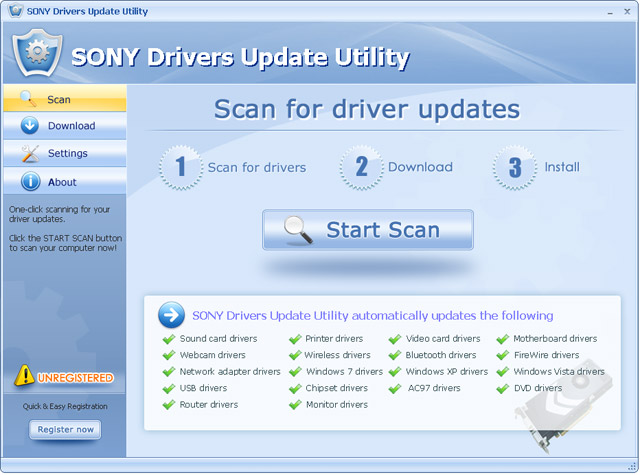 Click to view SONY Drivers Update Utility 11.6 screenshot