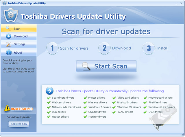 Toshiba Drivers Update Utility Screen shot
