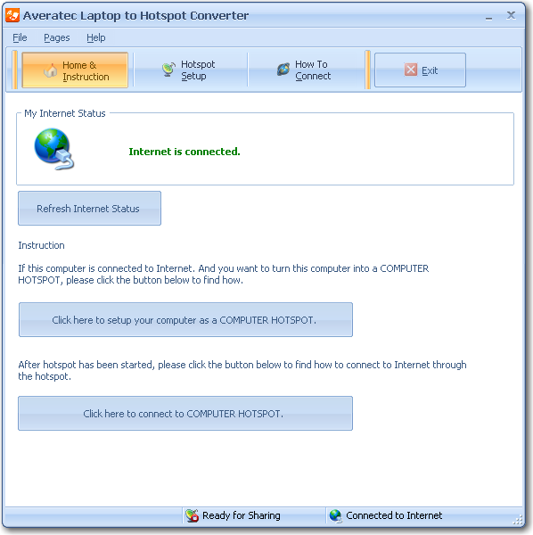 Click to view Averatec Laptop to Hotspot Converter 6.5 screenshot