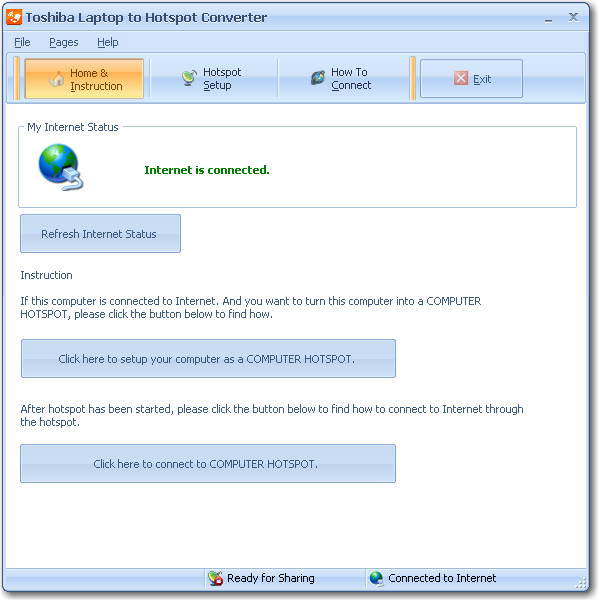 Click to view Toshiba Laptop to Hotspot Converter 11.9 screenshot