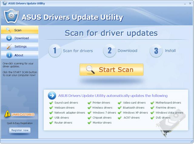 ASUS Drivers Update Utility For Windows 7 screenshot