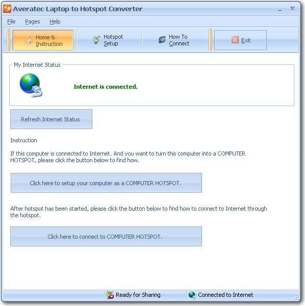 Convert Averatec laptop to wireless hotspot.